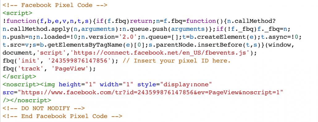 Contoh Kode Pixel Facebook